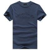 Summer Casual Letter-embroidered  Pure Color Cotton T-shirt Men's Slim-fit Short Sleeve T-shirt