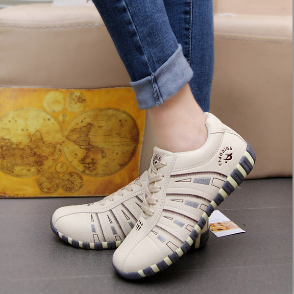 Printing Trainers Lace Up Comfortable Sport Casual Shoes For Women