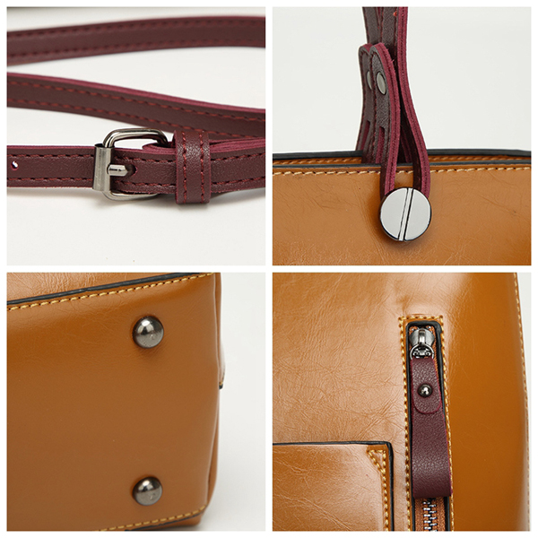 Women Oil Wax Leather Top Handle Satchel Handbag Shoulder Bag Messenger Tote Bag