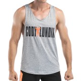 Men's Leisure Quick Drying Breathable Vest Fashion Letter Printed Fitness Training Sport Tops