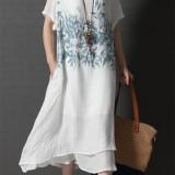 Casual Women Short Sleeve O-Neck Printed Asymmetrical Hem Dress