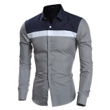 Mens Fashion Striped Printing Patchwork Color Casual Slim Fit Stitching Designer Shirts