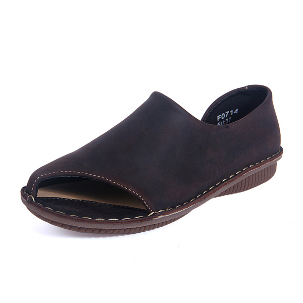 Socofy Breathable Leather Flat Shoes