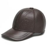 Mens Cowhide Leather Earflap Ear Muffs Baseball Cap Winter Warm Windproof Gentleman Golf Hats