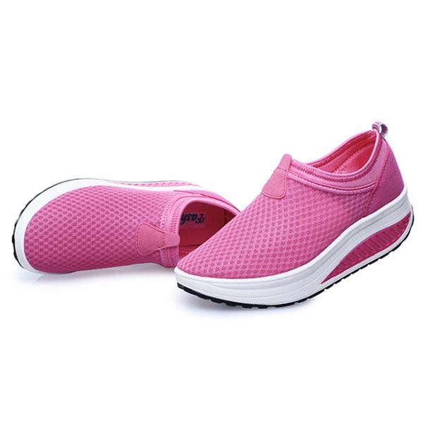 Mesh Shoes Women Breathable Athletic Casual Rocker Sole Shoes