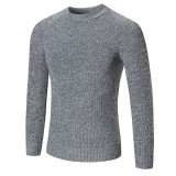 Men's Casual Wool Knitted Sweater Fashion Solid Color Round Neck Long Sleeve Sweater