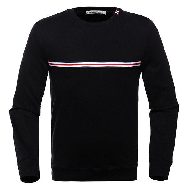Fashion Striped Pattern Cotton Sweater Men's Solid Collar Round Neck Long Sleeve Sweatshirt