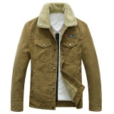 Mens Stand Collar Corduroy Fleece Thick Winter Warm Turn-down Collar Coat