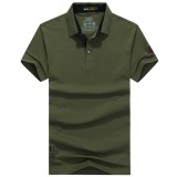 Summer Casual Mens Solid Color Turn-down Collar Breathable Cotton Short Sleeve  Polo Shirt