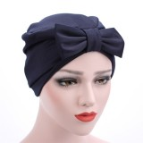 Women Satin Bowknot Beanie Hat Solid Elegant Outdoor Casual Turban Cap