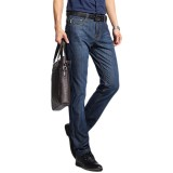 Casual Business Straight Leg Spring Summer Cotton Breathable Basic Long Jeans for Men