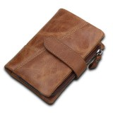 Men's RFID Blocking Secure Wallet Leather Short Trifold Wallet with Detachable Coin Bag