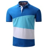 Summer Men's Lapel POLO Shirts Fashion Splicing Color Blocks Casual T-shirt