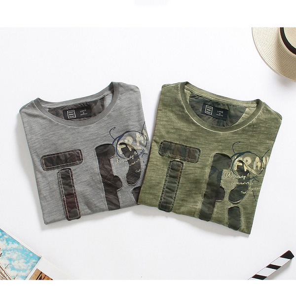 Summer Fashion Men's Letter Printing Slim Fit Cotton T-shirt Casual O-Neck Wash-and-wear Tees