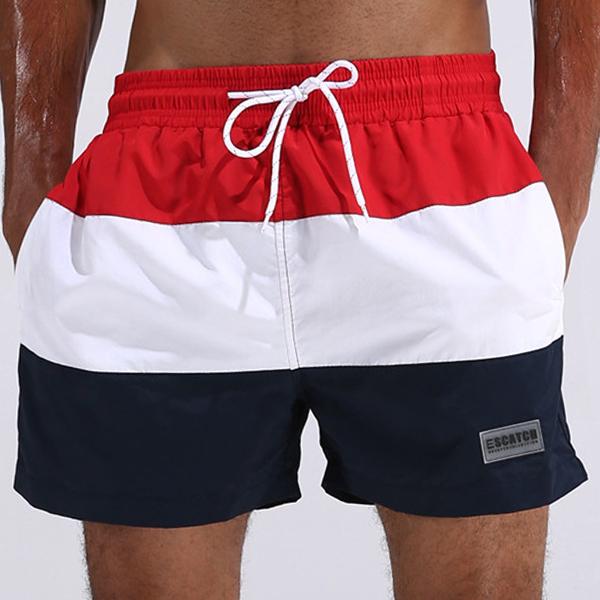 ESCATCH Mens Summer Outdoor Stitching Striped Board Shorts Sports Surf Beach Shorts