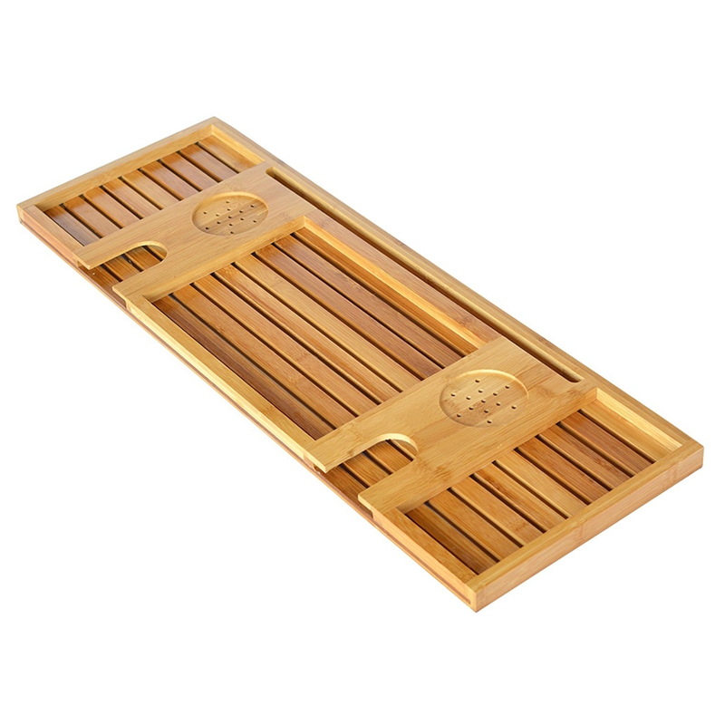 Bamboo Bathtub Caddy Tray With Reading Rack/Tablet Holder/Cellphone  Tray/Wine Glass