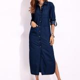 Elegant Women Turn-down Collar Long Sleeve Button Down Denim Shirt Dress