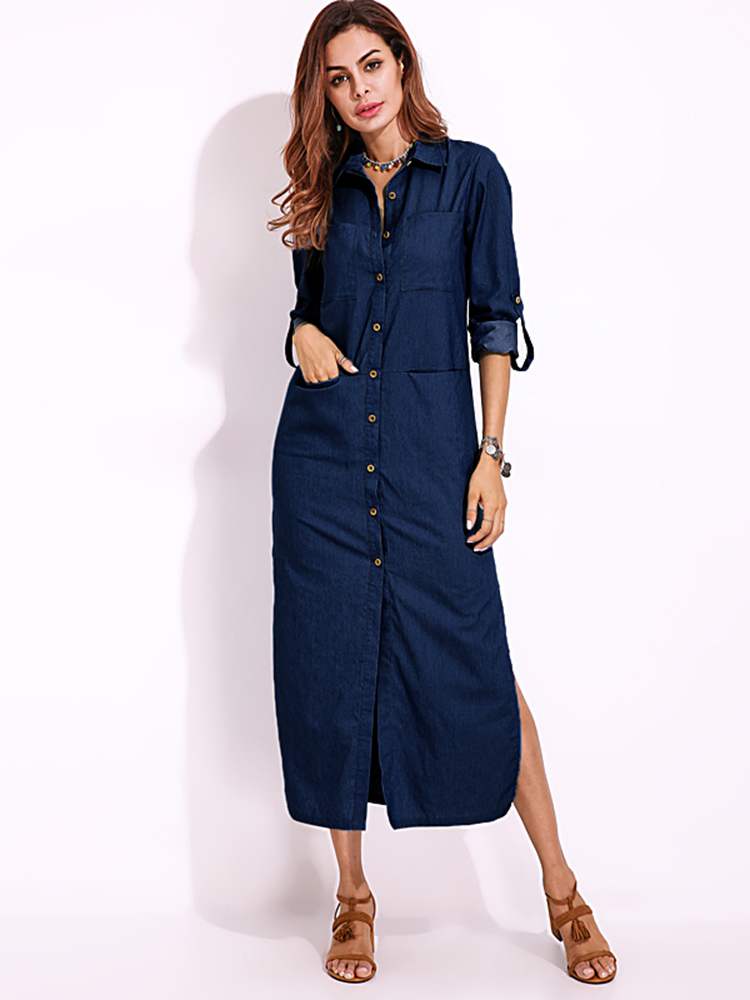 Elegant women turn down collar long sleeve button down Women s long sleeve shirt dress