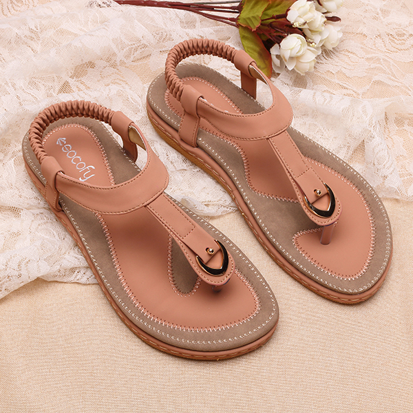 a9900bb46 SOCOFY US Size 5-13 Comfortable Elastic Clip Toe Flat Beach Sandals ...