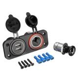 12V/24V Car Cigarette Lighter Socket Splitter Dual USB Charger Power Adaptor