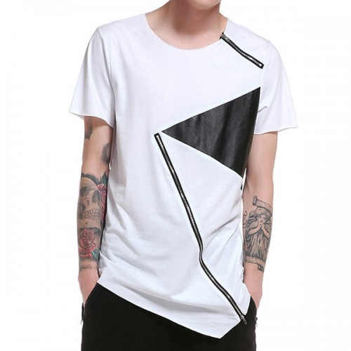 Summer Mens Hip-Hop Hit Color Zipper T-shirt O-neck Short Sleeve Casual Cotton Tops Tees