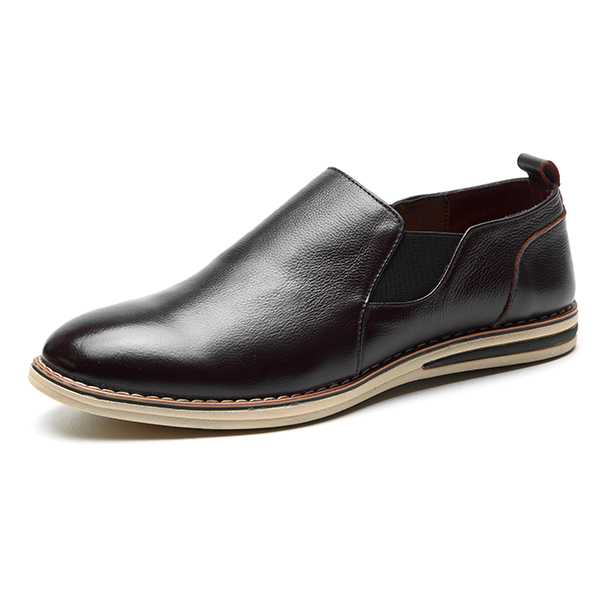 genuine leather casual slip on business oxfords shoes