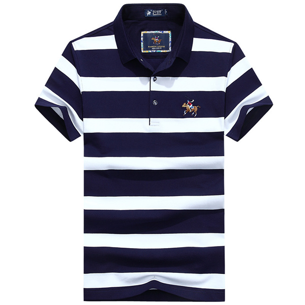 Stylish Men/'s Short Sleeve Striped Lapel T-Shirt Button Casual Cotton Tee Tops