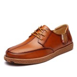 Men Casual Genuine Leather Casual Slip On Business Oxfords