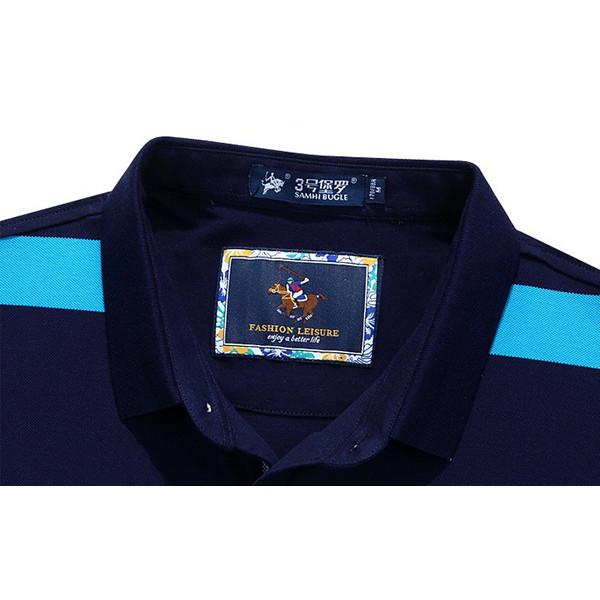 Summer Fashion Lapel Striped Printed T-shirt Men's Casual Cotton Short sleeve Tops Tees
