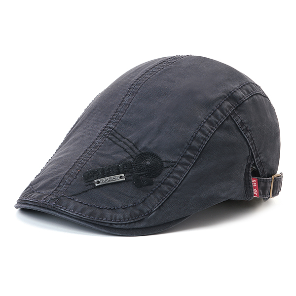 69b19253525 Mens Vintage Embroidery Letter Cotton Sunshade Beret Caps Casual ...