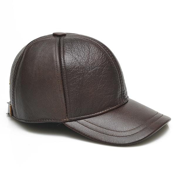 ee8d5eea0 Mens Cowhide Leather Earflap Ear Muffs Baseball Cap Winter Warm Windproof  Gentleman Golf Hats
