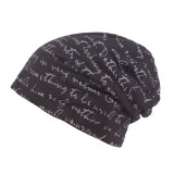 Mens Letter Printing Cotton Beanie Cap Casual Soft Autumn Winter Warm Knit Hat