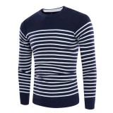 Concise Fashion Striped Printed Sweater Men's Knitted Round Neck Casual Pullover Sweater