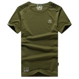 AFSJEEP Men's Breathable Cotton Round Collar T-shirt Casual Short Sleeved Tops Tees