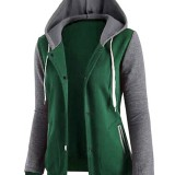 Casual Women Long Sleeve Baseball Pockets Hooded Sweater Coats