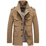 Mens Fashion Stylish Pockets Epaulet Mid Long Cotton Outwear Parka Jacket