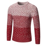 Men's Changing Color Casual Sweater Fashion Hit Color Stripes Knitted Round Neck Sweater