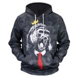 Men's Fall Winter 3D Animals Printing Hoodies Casual Fashion Polyester Sport Sweatshirt