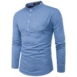 Brief Style Front Pocket Buttons Denim T-shirt Men's Casual Mandarin Collar Long Sleeve Tops