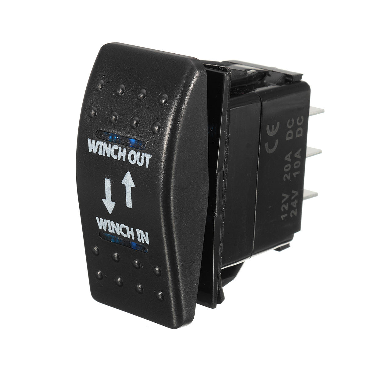12V 20A (ON)-OFF-(ON) Rocker Switch Momentary Winch In Winch Out LED ...