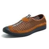 Men Mesh Anti-collision Toe Hand Stitching Casual Flats Sneakers