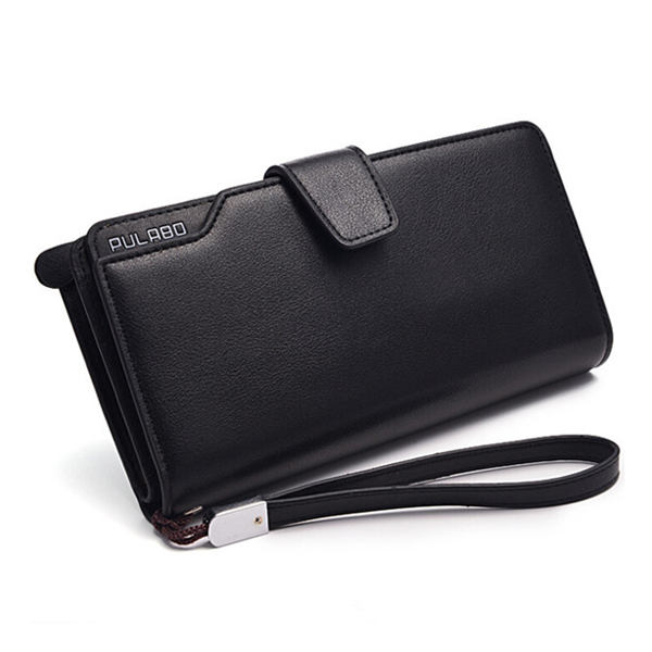 Men PU Leather Business Long Wallet Credit Card Organizer Wallet with 21 Card Slots