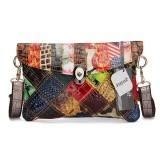 Women Contrast Color Shoulder Bags Ladies Vintage Crossbody Bags Elegant Messenger Bags