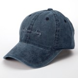 Mens Women Washed Cotton Baseball Cap Letter Embroidery Casual Snapback Hat Adjustable