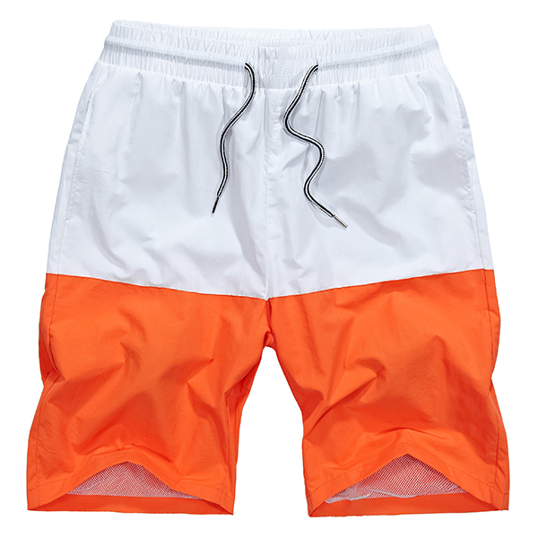 Big Size Quick-drying Water-repellent Beach Shorts Summer Men's Drawstring Hit Colort Shorts
