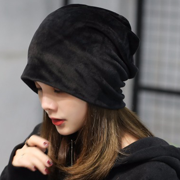 Women s Solid Velvet Warm Beanie Hat Casual Ear Protection Winter ... 47dfb43986d