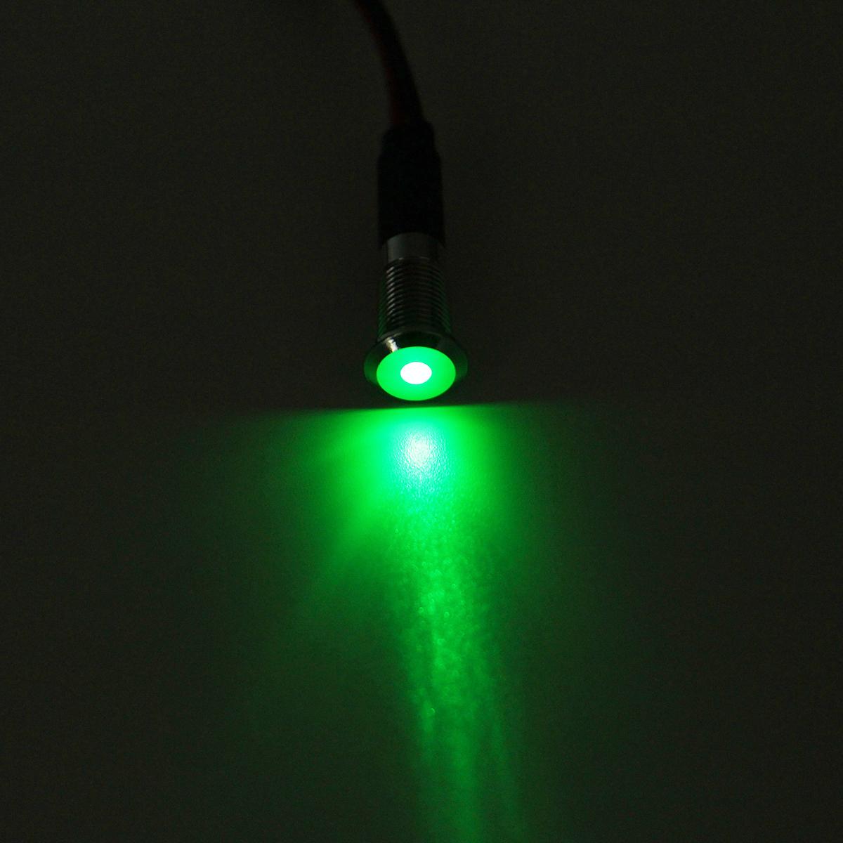 Warning Indicator Lights: 12V 8mm LED Metal Dash Pilot Panel Indicator Warning Light