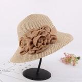 Women Summer Wide Brim Floppy Sun Straw Hat Casual Beach Sunshade Bucket Hat