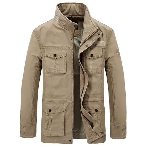mens plus size outdoor cargo loose multi pockets thick jacket