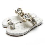 Women Bohemia Sandals Clip Toe Flat Embroidery Casual Beach Slipper